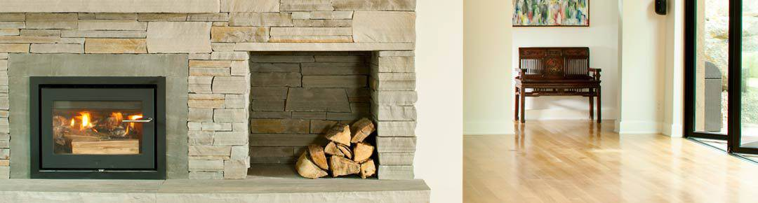 Main living wood burning fireplace