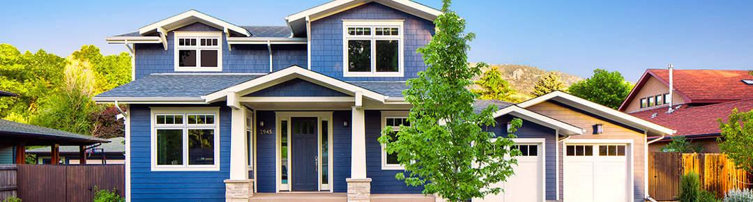Custom home blue exterior