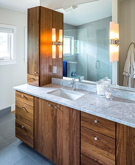 wooden cupboard in bath