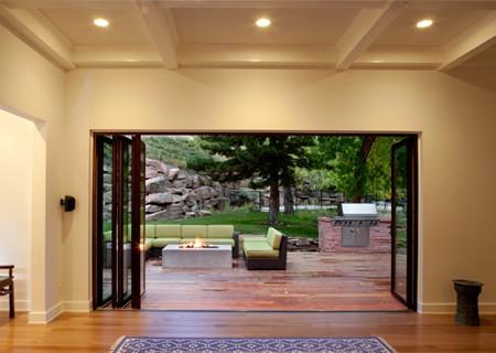 living room inside and outside