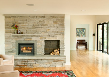 stylish wood-burning fireplace