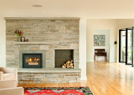stylish wood-burning fireplace