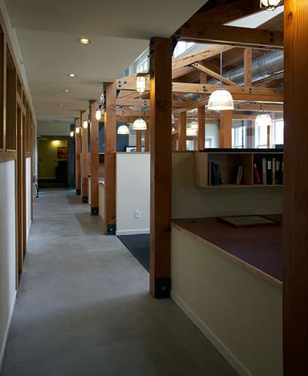 open office with separated spaces