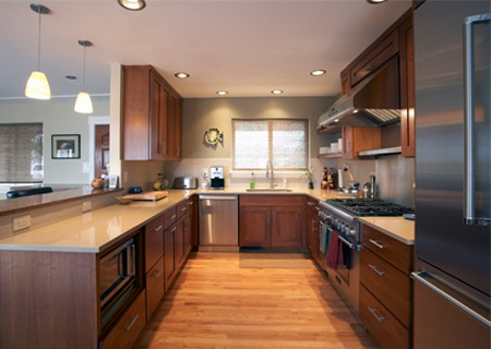 separated open kitchen