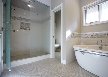 penny tiles in bathroom