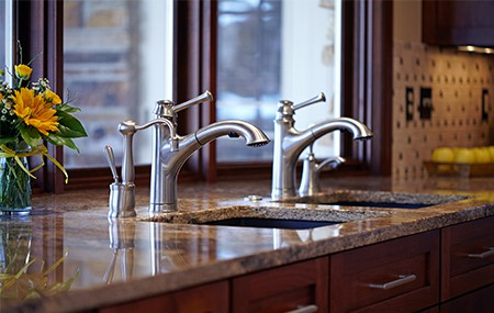 two fashionable basins in kitchen