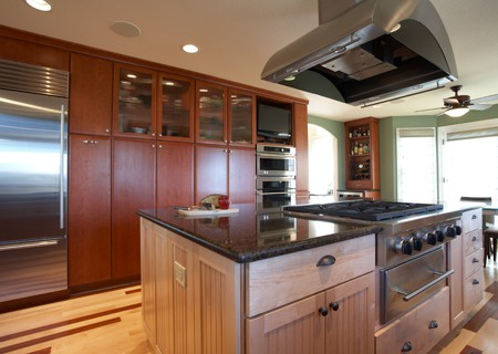 different types of wood in one kitchen