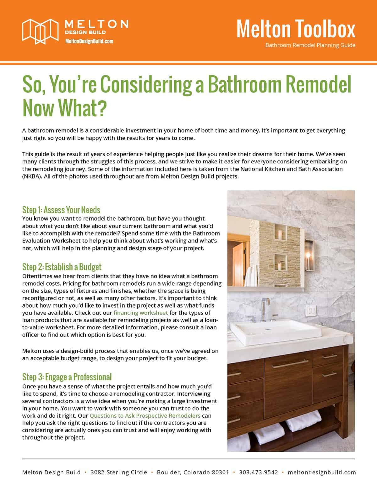Bathroom Remodel Planning GuidePage Melton Design Build - Bathroom remodeling boulder colorado