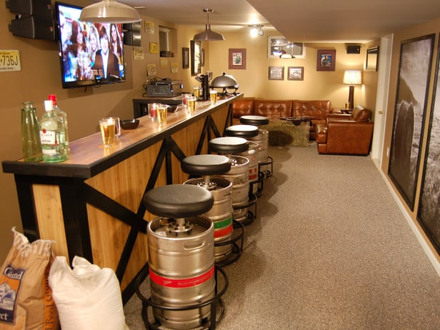 8 essentials ideas for every man cave basement remodel for Diy bar ideas for basement