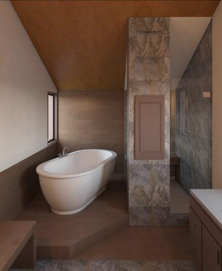 bathtub on platform