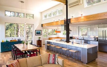 big kitchen with bar