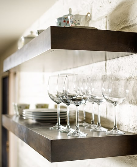 wine glass on sideboard