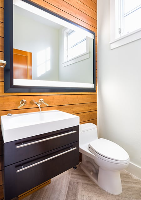Longmont bathroom with bamboo Melton Design Build Boulder Colorado Boulder Powder Bath Remodel WONDERFUL WOODS