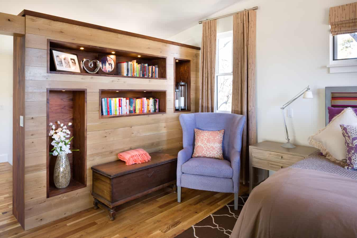 Master bedroom built in shelving