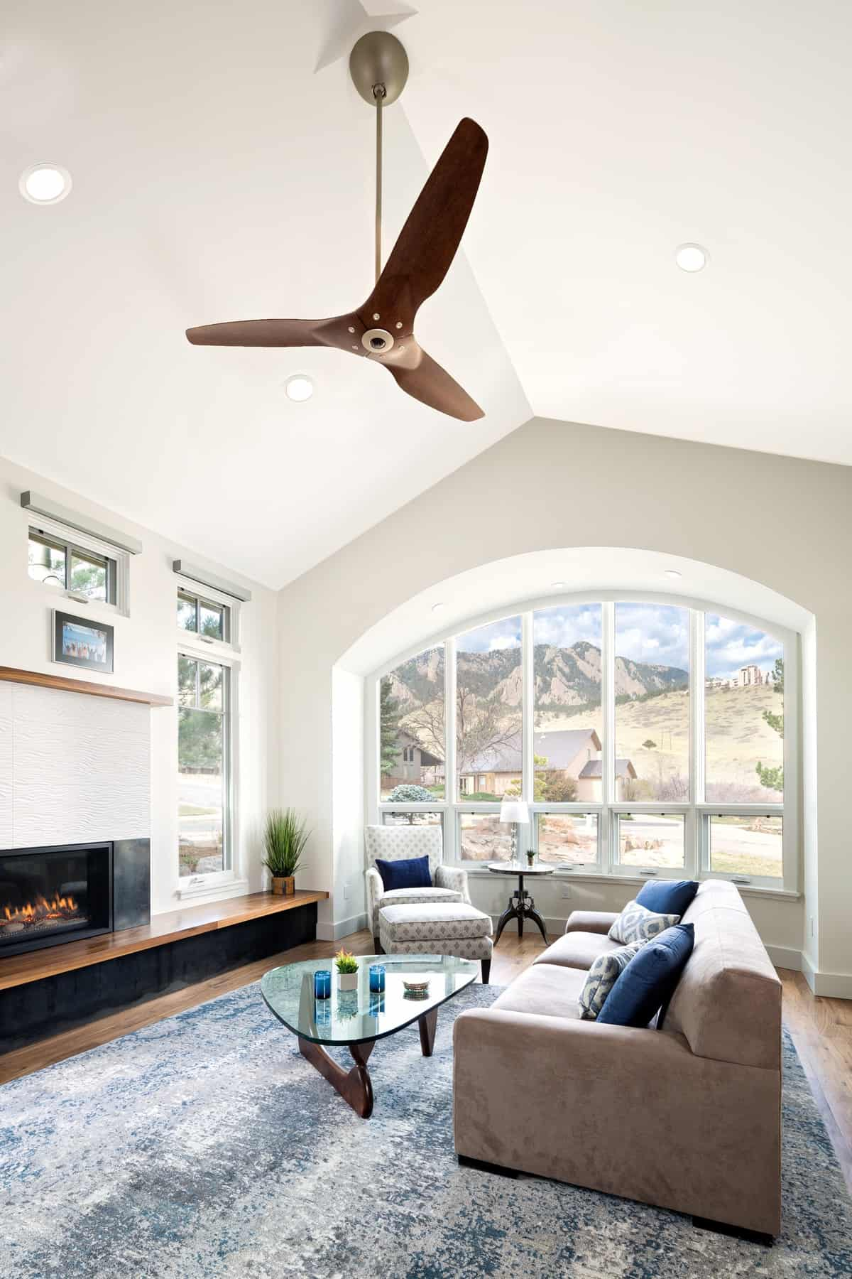 Devil's Thumb Boulder Remodel - Living Room with view of flatirons