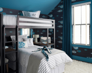 Houzz.com- OPaL LLC- Rehoboth Beach- Bunk Beds with FIsh Wall Paper