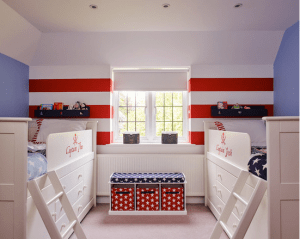 Houzz.com- Sarah Finney Interiors- Red White and Blue Kids Room