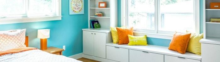 Kids Room Design - Melton Design Build - Blue Walls Orange Accents