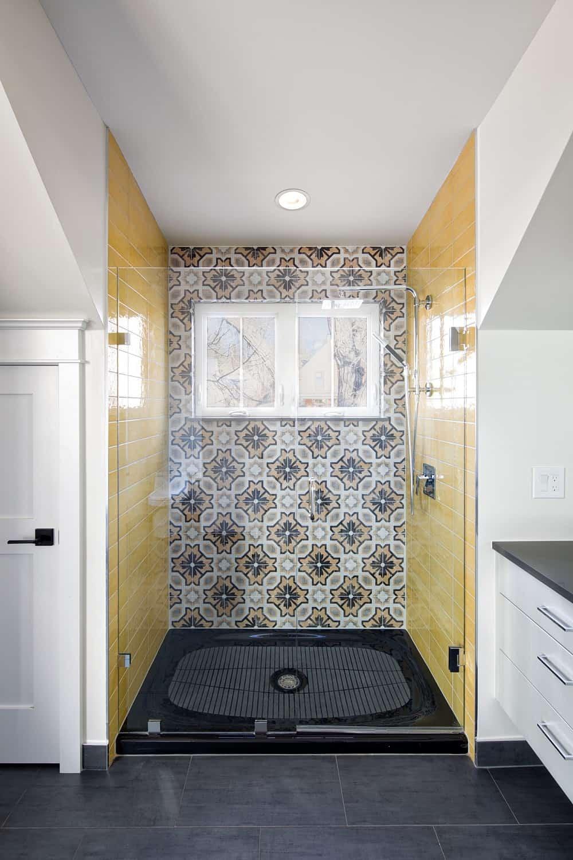 Boulder Historical Home Remodel - Black and Gold Shower