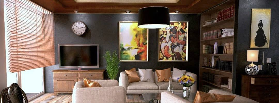 photo of living room with black walls - energy savings