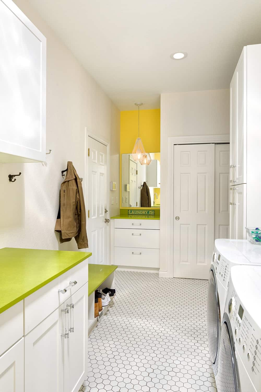 Melton Design Build - Louisville Remodel - Yellow and Green Laundry Room