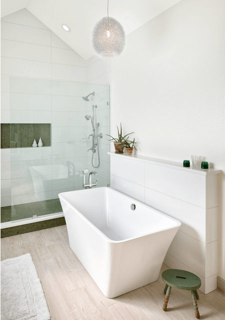 Melton Design Build Master Bath Remodel White Bright Modern Contemporary
