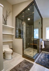 black tile walk in shower