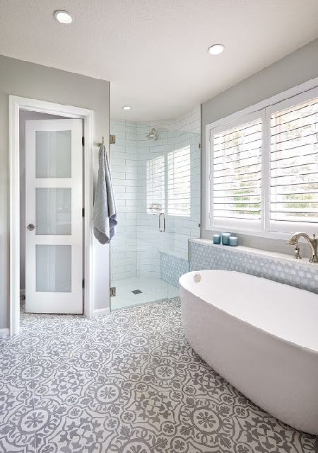 Melton Design Build Private Retreat White Tile Bathroom