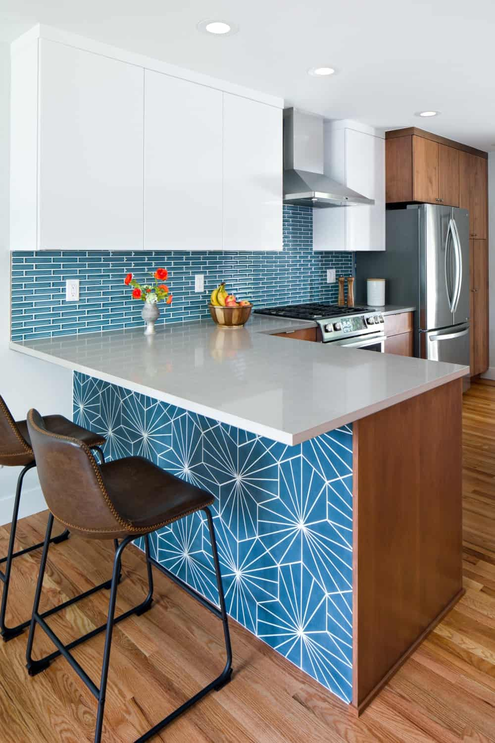 Melton Design Build Kitchen Remodel - Peninsula Tile Detail Boulder Colorado
